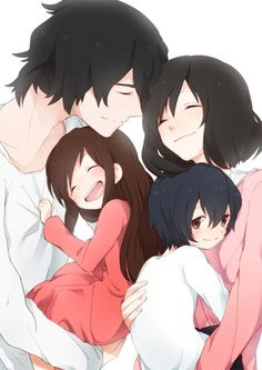 Hana, Yuki, Ame, and the father from Wolf Children! So adorable I can't even stand it and the amount of feels!