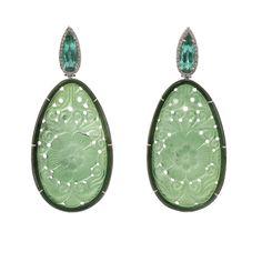 Carved Green Tourmaline Earrings