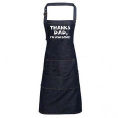 Fun Denim Cooking / BBQ Bib Apron, Thanks Dad I'm Awesome, Unisex Bib Apron, Aprons, Unique Gifts For Dad, Heat Press, Indigo, Bbq, Dads, I'm Awesome, Unisex