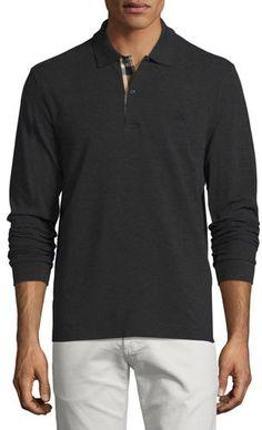 41b50d124 Burberry Long-Sleeve Oxford Polo Shirt, Charcoal Melange - ShopStyle