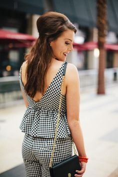 Get Outfit Details on Blog www.fitnessandfrills.com | Matching Separates: Gingham Meets Glam | Fitness & Frills l Fashion l Style
