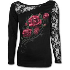 Womens DEATH ROSE Lace One Shoulder Top Black Shop Online From Spiral Direct, Gothic Clothing, UK