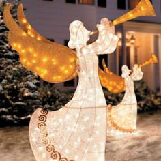 animated lighted winged angel with horn yard decor set of 2 christmas decoration - Lighted Christmas Angel Yard Decor