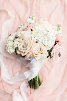 Pink rose and hydrangea wedding bouquet: http://www.stylemepretty.com/oregon-weddings/cave-junction/2015/12/22/romantic-gold-blush-riverside-wedding/ | Photography: Olivia Leigh - http://olivialeighphotoart.com/