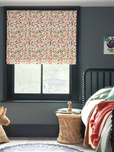 Play with print and go dotty for design with multi-coloured Roman blinds. Perfect for adding a fun finish to a child's bedroom. Childrens Blinds, Nursery Blinds, Girls Bedroom, Bedroom Ideas, Blind Girl, Roman Blinds, Dark Grey, Playroom, Kids Room
