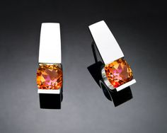 mystic topaz earrings, Argentium silver, silver earrings, eco-friendly, modern earrings, orange gemstones, post earrings, tension set - 2431