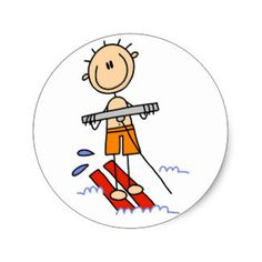 Stick Figure Water Skiing Tshirts and gifts Classic Round Sticker
