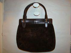 Vintage Authentic Gucci Chocolate Brown Suede Handbag Purse Pocketbook Kellybag | eBay