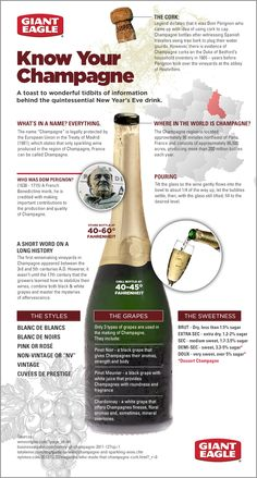 CocosCollections The more you know . Know Your Champagne - A toast to wonderful tidbits of information behind the quintessential New Year's Eve drink. Wine And Liquor, Wine And Beer, Wine Drinks, Cocktail Drinks, Cocktails, Alcoholic Drinks, Beverages, New Years Eve Drinks, Wine Facts