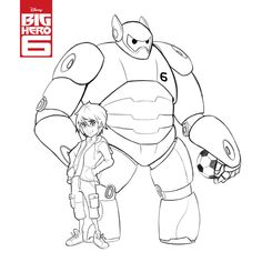 big hero six pictures | Print and colour Big Hero 6 Colouring Page