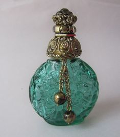 Czech Decorative Green Glass Vintage Perfume Miniature Flacon Bottle