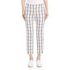 Theory Treeca Plaid Cropped Pants (161.885 CRC) ❤ liked on Polyvore featuring pants, capris, apparel & accessories, white plaid pants, shiny pants, plaid trousers, tartan plaid pants and white pants