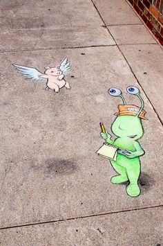 David Zinn chalk art – Sluggo the Reporter