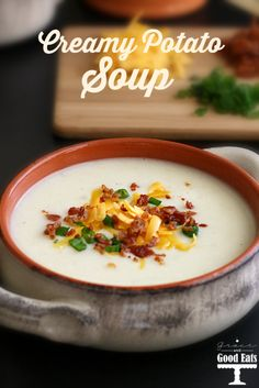 Creamy Potato Soup- served with cheese, bacon, and chives. Comfort ...