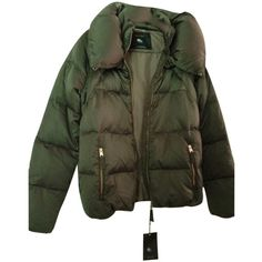 Pre-owned Zara Jacket Coat ($139) ❤ liked on Polyvore featuring outerwear, coats, jackets, coats & jackets, green, puffy jacket, feather coat, green puffer jacket, puffer jacket and fur collar coat