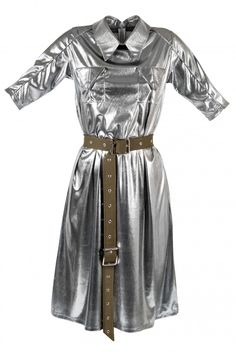 This remarkable silver shirtdress will make you sparkle during the new season! The Romeo Ramia Dress feels like fluid silver and it is featured with two gorgeous front flapped pockets. Partner it with a pair of over-the-knee boots for a contemporary finish.
