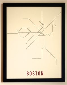 Boston Typographic Transit Map Poster $25