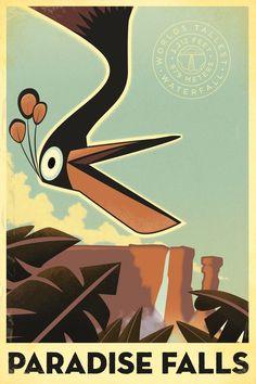 Paradise Falls (Up) Art Deco Print