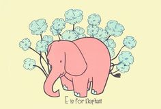 E is for Elephant Alphabet Print from strawberryluna