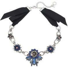 Simply Vera Vera Wang Flower Link Ribbon Necklace ($17) ❤ liked on Polyvore featuring jewelry, necklaces, blue other, blue jewellery, ribbon charms, ribbon necklace, clasp necklace and blue necklace