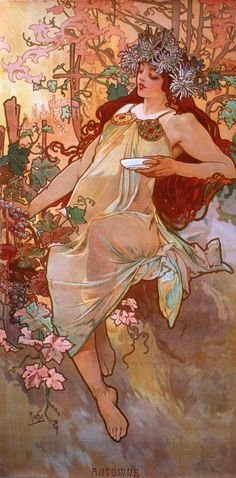 Art Nouveau artist Alphonse Mucha was a master of using nymph-like women to personify forces and elements of nature such as the seasons of the year.The perfect gift for jigsaw puzzlers, fans Art Nouveau and Mucha paintings, this traditional adul. Art Nouveau Mucha, Alphonse Mucha Art, Art Nouveau Poster, Poster Art, Kunst Poster, Art And Illustration, Jugendstil Design, Norman Rockwell, Gustav Klimt