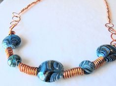 Copper and turquoise glass bead necklace by ShayBelleDesigns, $25.00
