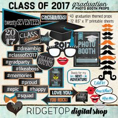 Photo Booth Props, CLASS OF 2017, graduation, party, printable sheets, instant download, blue, orange, school colors, grad night