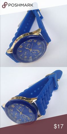 SALE Blue Silicone Watch Silicone band with a big face and color matches band. New! Check out my closet for a bundle discount. PRICE FIRM UNLESS BUNDLED!!! Accessories Watches