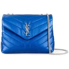 Saint Laurent Loulou Medium Leather Shoulder Bag (€1.525) ❤ liked on Polyvore featuring bags, handbags, shoulder bags, blue, shoulder bag purse, leather shoulder handbags, blue leather shoulder bag, genuine leather handbags and blue leather handbags