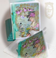 Le Jardin de Lumiere des Etoiles or The Garden of Starlight Set of 6 Cards and Shimmering Aqua Envelopes. $32.99, via Etsy.