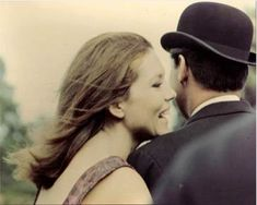 """babinus: """" Emma & Steed (Diana Rigg & Patrick McNee) ~ """"Chapeau melon et bottes de cuir"""" (The Avengers) bmcbikes: """" this is one of my absolute favorites of these two """" """""""