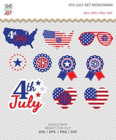 4th July set independence day Patriotic Monogram Frames DXF SVG PNG eps for Cricut Design, Silhouette studio, Makes the Cut by SvgCutArt on Etsy