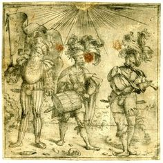 Three musician soldiers, the one at the right plays a flute. c.1510-20. Drypoint