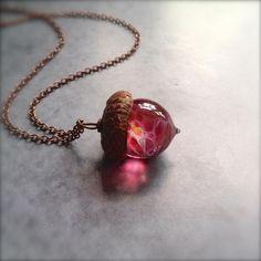 Acorn Necklace, Initial Necklace, Pendant Necklace, Cute Jewelry, Jewelry Accessories, Unique Jewelry, Jewlery, Fantasy Jewelry, Resin Jewelry