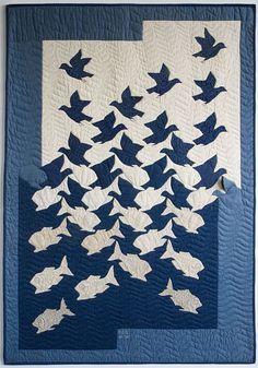 Sky and Water II – Dessin d'Escher, 1938. Escher quilt, 1997, par Ineke Poort (compatriote d'Escher !)