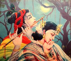 India Vintage Calendar Print Lord Krishna Radha in Moonlight G79   eBay