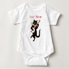 Personalized Black Cat Playing Banjo Baby Bodysuit. Add your baby's name .  #baby #bodysuit #cat #personalize