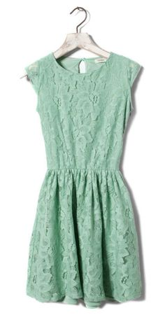 Cut-out Back Green Lace Dress Mint Dress Lace, Green Dress, Looks Style, My Style, Color Menta, Mint Color, Colour, Turquoise, Coral