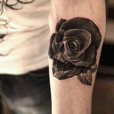Unique Rose & Skull Mens Tattoo