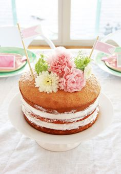 Naked Cake- in a pinch use an Anthro latte bowl for a cake stand bottom! #latte #anthrofave