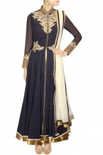 Rama blue embroidered anarkali with white palazzos and dupatta