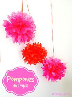 Una idea sencilla pero muy bonita para decorar un evento o #DIY #manualidades #partydecor #pompones