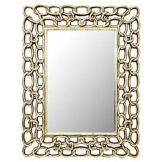 Beveled mirror with a chain-inspired frame.     Product: Wall mirror        Construction Material: Polyurethane, MDF and mirrored glass Color: Antique silver    Features: Transitional style           Dimensions: 56.5 H x 52.5 W x 5 D