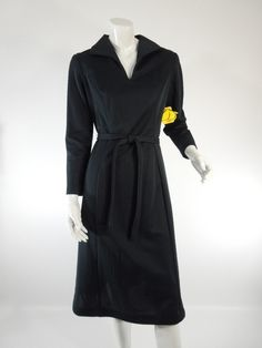 70s Black Long Sleeve Day Dress New With Tags - med. $50.00, via Etsy.