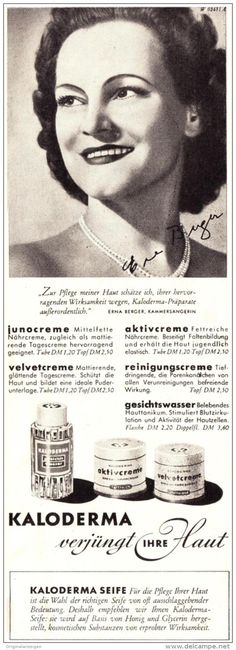 Original-Werbung/ Anzeige 1954 - KAMMERSÄNGERIN ERNA BERGER / KALODERMA - ca. 65 x 200 mm