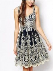Popular Square Neck  Printed Party-dress