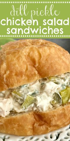 This dill pickle chicken salad is a fun twist to original chicken salad. Chunks of chicken, dill pickles, and green onions get smothered in a creamy sauce. Dill Recipes, Easy Salad Recipes, Chicken Salad Recipes, Easy Dinner Recipes, Easy Meals, Salad Chicken, Chicken Pickle, Recipe Chicken, Kirkland Canned Chicken Salad Recipe