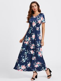 11300ed22a33 To find out about the Flower Print Maxi Dress at SHEIN