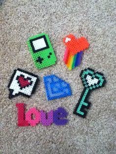 "Small perler bead ideas! -Gameboy -Rainbow heart -Text bubble -Heart key -""LOVE"" -Diamond"