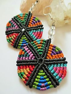 Multicolored Round Macrame Earrings Original Creation Handmade with threads and quartz gemstone beads